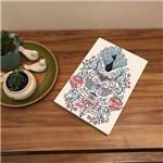 Placa de Bancada Decorativa Pavão e Flores