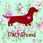 Placa de Decoração Floral Dachshund