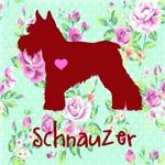 Placa de Decoração Floral Schnauzer