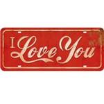Placa de Mdf e Papel Decor Home Litoarte 14,6 X 35 Cm - Modelo Dhpm2- 001 I Love You