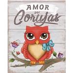 Placa de Mdf e Papel Decor Home Litoarte 24 X 19 Cm - Modelo Dhpm- 083 Coruja Amor por Coruja