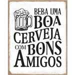 Placa de Mdf e Papel Decor Home Litoarte 24 X 19 Cm – Modelo Dhpm-391 Beba uma Boa Cervej