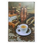 Placa de Metal Coffee Grãos - 30 X 20 Cm