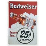 Placa de Metal Decorativa Budweiser