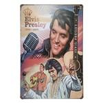 Placa de Metal Decorativa Elvis Presley Violão - 30 X 20 Cm