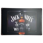 Placa de Metal Decorativa Jack Daniel's Tennessee Whiskey 30 X 20cm.