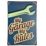 Placa de Metal Decorativa My Garage My Rules