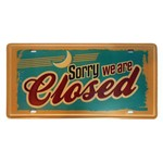 Placa de Metal Decorativa Sorry We Are Closed - 30,5 X 15,5 Cm