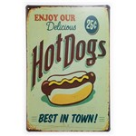 Placa de Metal Hot Dogs - 30 X 20 Cm