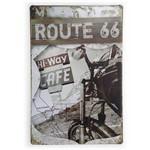Placa de Metal Route 66 Hi-way Cafe - 30 X 20 Cm