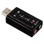 Placa de Som USB 7.1 Canais 3d Adaptador Áudio Musica Fones