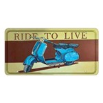 Placa Decorativa 15x30cm Vespa Ride To Live Lpd-028 - Litocart