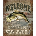 Placa Decorativa 24,5x19,5cm Welcome Drop a Line Stay Awhile LPMC-085 - Litocart