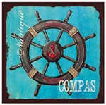 Placa Decorativa 25x25cm Timão de Navio Lpqc-042- Litocart