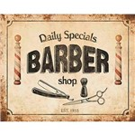 Placa Decorativa Barber Shop 24x19cm Dhpm-158 - Litoarte
