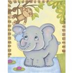 Placa Decorativa 3d Litoarte Dhpm5-202 24x19cm Elefante e Macaco