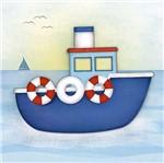 Placa Decorativa 3d Litoarte Dhpm5-207 19x19cm Navio e Boias