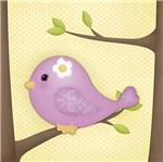 Placa Decorativa 3d Litoarte Dhpm5-210 19x19cm Passarinho Lilás