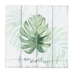 Placa Decorativa de Madeira Verde 28x28cm Adam Leaf Urban