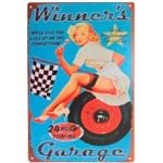 Placa Decorativa de Metal Winner's Garage 30 X 20 Cm