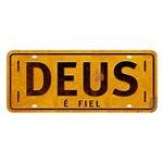 Placa Decorativa Deus é Fiel 14,6x35cm Dhpm2-053 - Litoarte