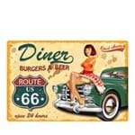 Placa Decorativa em MDF Pin Up Diner