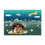 Placa Decorativa em MDF Presépio para Crianças 20x30cm