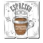 Placa Decorativa em MDF Ripado Cafe Expresso BCO