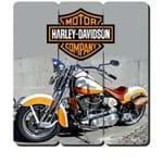 Placa Decorativa em MDF Ripado Moto Harley Davidson Custom