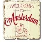 Placa Decorativa em MDF Ripado Welcome Amsterdan Bem Vindo