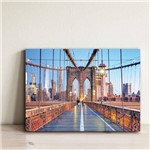Placa Decorativa Foto New York Ponte Brooklyn 20x30cm