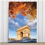 Placa Decorativa Foto Paris Arco do Triunfo Flores MDF 20x30