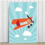 Placa Decorativa Infantil Azul Avião e Nuvens 30x40cm