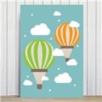 Placa Decorativa Infantil Baloes e Nuvens 30x40cm