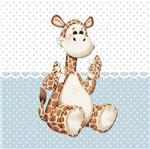 Placa Decorativa Infantil com Aplique em MDF Litocart LPQI-020A 20X20cm Girafa com Fundo Azul
