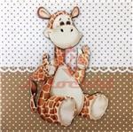 Placa Decorativa Infantil com Aplique em MDF Litocart LPQI-020M 20X20cm Girafa com Fundo Marrom