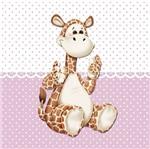 Placa Decorativa Infantil com Aplique em MDF Litocart LPQI-020R 20X20cm Girafa com Fundo Rosa