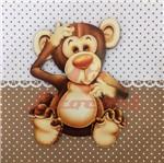 Placa Decorativa Infantil com Aplique em MDF Litocart LPQI-010M 20X20cm Macaco Fundo Marrom
