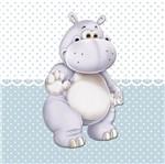 Placa Decorativa Infantil com Aplique em MDF Litocart LPQI-014A 20X20cm Hipopótamo com Fundo Azul