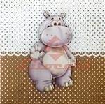 Placa Decorativa Infantil com Aplique em MDF Litocart LPQI-014M 20X20cm Hipopótamo com Fundo Marrom