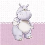 Placa Decorativa Infantil com Aplique em MDF Litocart LPQI-014R 20X20cm Hipopótamo com Fundo Rosa