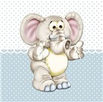 Placa Decorativa Infantil com Aplique em MDF Litocart LPQI-016A 20X20cm Elefante com Fundo Azul