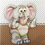 Placa Decorativa Infantil com Aplique em MDF Litocart LPQI-016M 20X20cm Elefante com Fundo Marrom