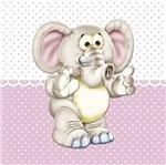 Placa Decorativa Infantil com Aplique em MDF Litocart LPQI-016R 20X20cm Elefante com Fundo Rosa