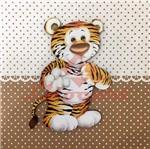 Placa Decorativa Infantil com Aplique em MDF Litocart LPQI-017M 20X20cm Tigre com Fundo Marrom