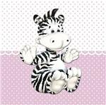 Placa Decorativa Infantil com Aplique em MDF Litocart LPQI-018R 20X20cm Zebra com Fundo Rosa