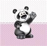 Placa Decorativa Infantil com Aplique em MDF Litocart LPQI-019R 20X20cm Urso Panda com Fundo Rosa