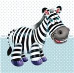 Placa Decorativa Infantil com Aplique em MDF Litocart LPQI-012A 20X20cm Zebra com Fundo Azul