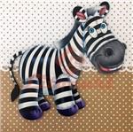 Placa Decorativa Infantil com Aplique em MDF Litocart LPQI-012M 20X20cm Zebra com Fundo Marrom