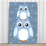 Placa Decorativa Infantil Coruja Baby Azul MDF 20x30cm